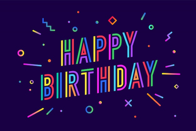 お誕生日おめでとうございます。グリーティングカード、バナー、ポスター、ステッカーのコンセプト Premiumベクター