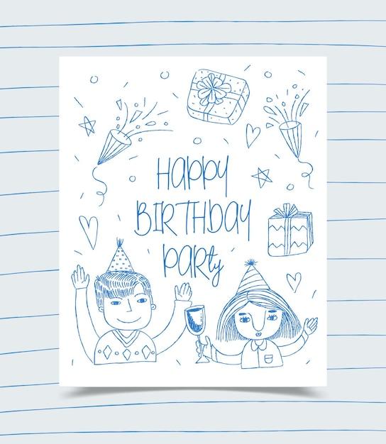 Biglietto di auguri di buon compleanno decorato con ragazza, ragazzo e confezione regalo Vettore gratuito