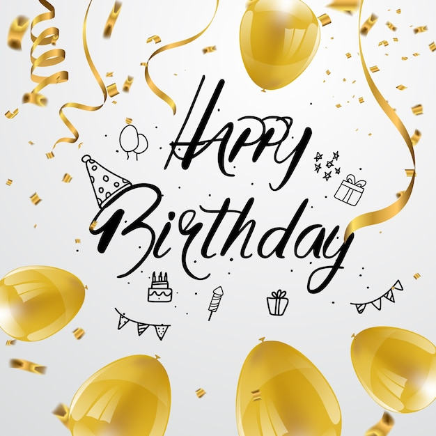 Happy Birthday Greeting Card Design Golden Confetti And Gold Balloon