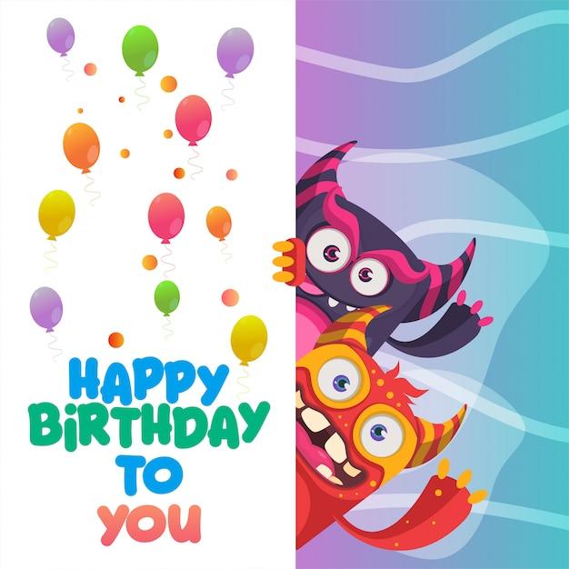 Happy birthday greeting card design Premium Vector