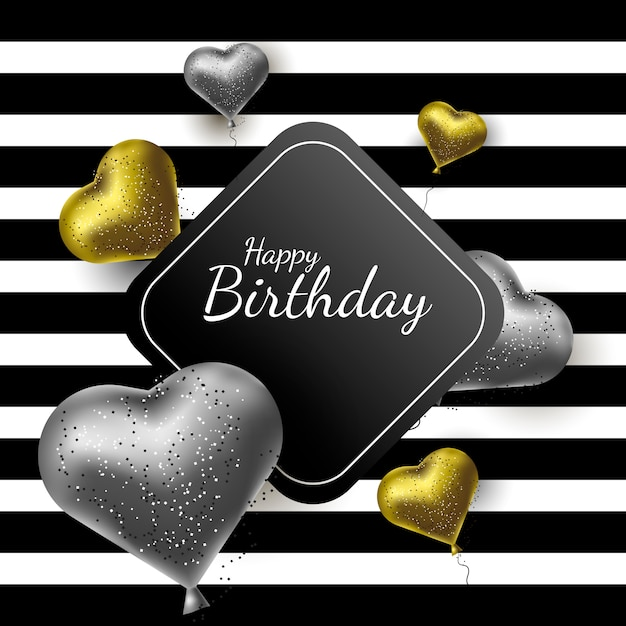 Happy birthday greeting card, fashion luxury style Premium Vector