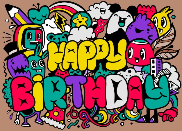 Happy birthday greeting card and monster characters design. Premium Vector