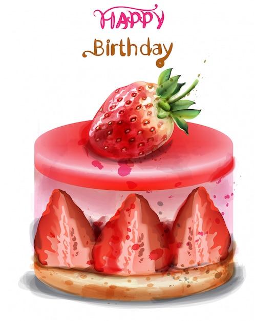 Happy birthday greeting card. strawberry birthday cake watercolor Premium Vector