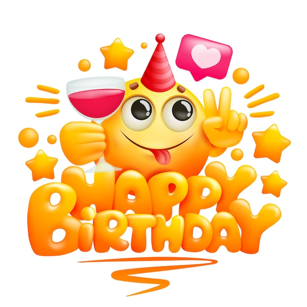 Happy birthday greeting card template in cartoon style ...