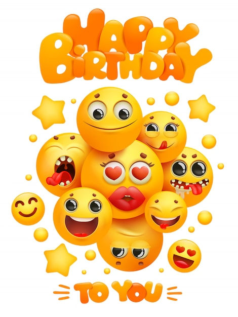 Happy birthday greeting card template with group of emoji cartoon yellow smile characters. Premium Vector