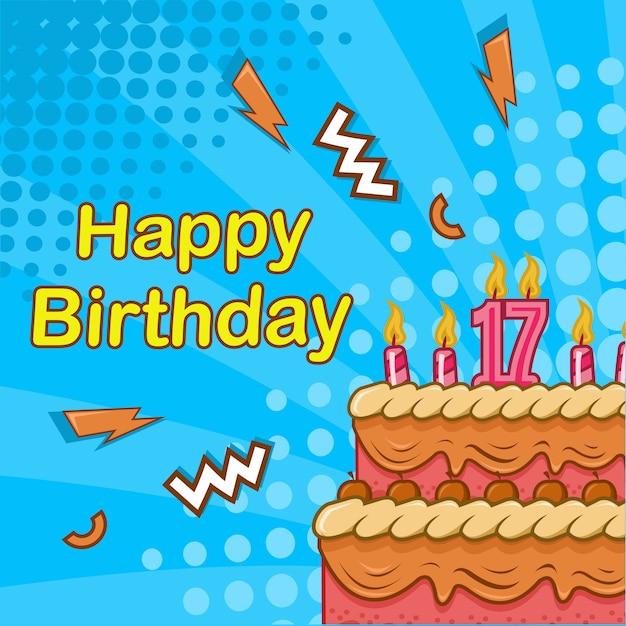 誕生日ケーキ、キャンドルコミックスタイルの背景を持つ幸せな誕生日グリーティングカード Premiumベクター