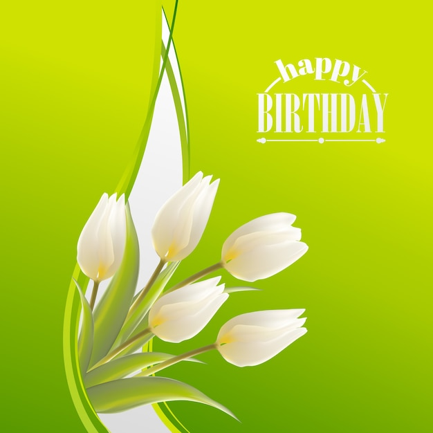 Happy birthday greeting card with blooming tulip Free Vector