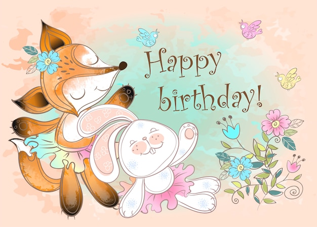 Happy birthday greeting card with a bunny and a cute fox. Premium Vector