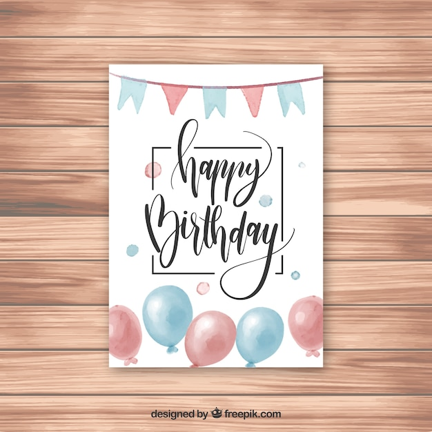 Happy Birthday Greeting Card With Confetti Free Vector