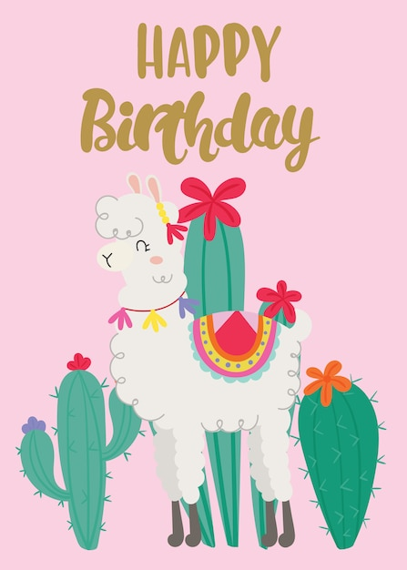 Happy birthday greeting card with cute llama. Vector ...