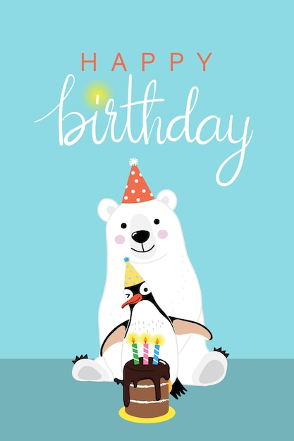 Happy Birthday Greeting Card With Cute Polar Bear And Penguin