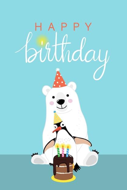 Happy Birthday Greeting Card With Cute Polar Bear And