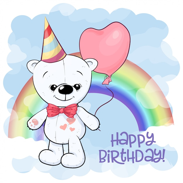 Happy birthday greeting card with cute white teddy bear on the background of the rainbow and balloon. cartoon style. Premium Vector