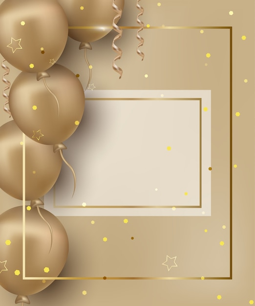 Happy birthday greeting card with golden balloons on the gilded background. Premium Vector