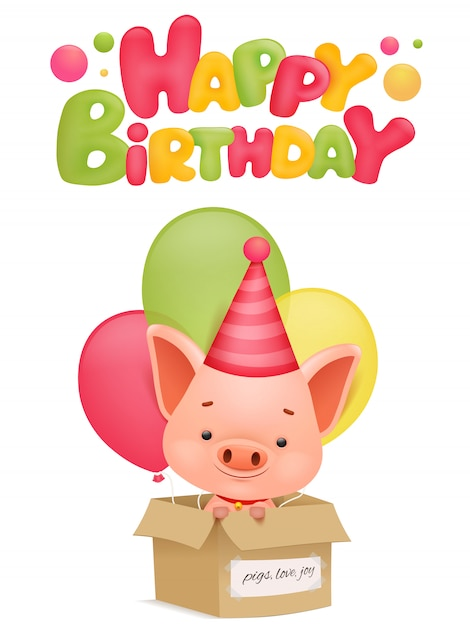 Premium Vector Happy Birthday Greeting Card With Pig Cartoon Character Vector Illustration