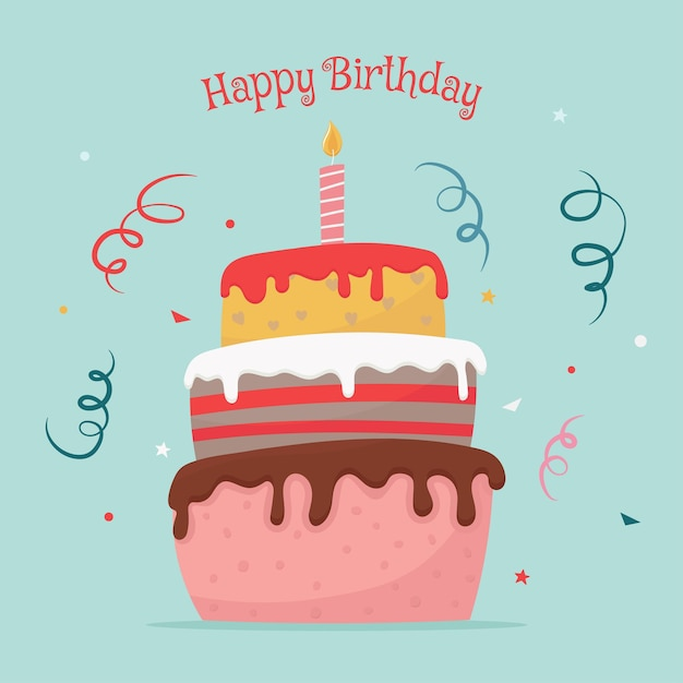 Premium Vector Happy Birthday Greeting Card With Threetiered Cake In Cartoon Flat Style