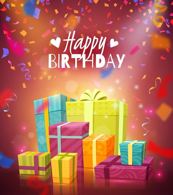 Поздравительная открытка с днем рождения Бесплатные векторы