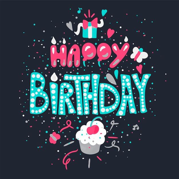 Happy birthday greeting card Premium Vector