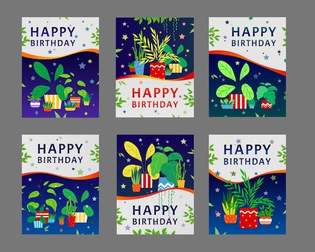 お誕生日おめでとうグリーティングカードデザインセット。観葉植物、緑の葉の鉢植えの家の植物のテキストサンプルのベクトル図 無料ベクター