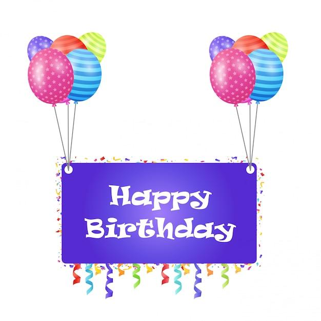 Happy Birthday Greetings Card With Elegent Deisgn Vector Vector