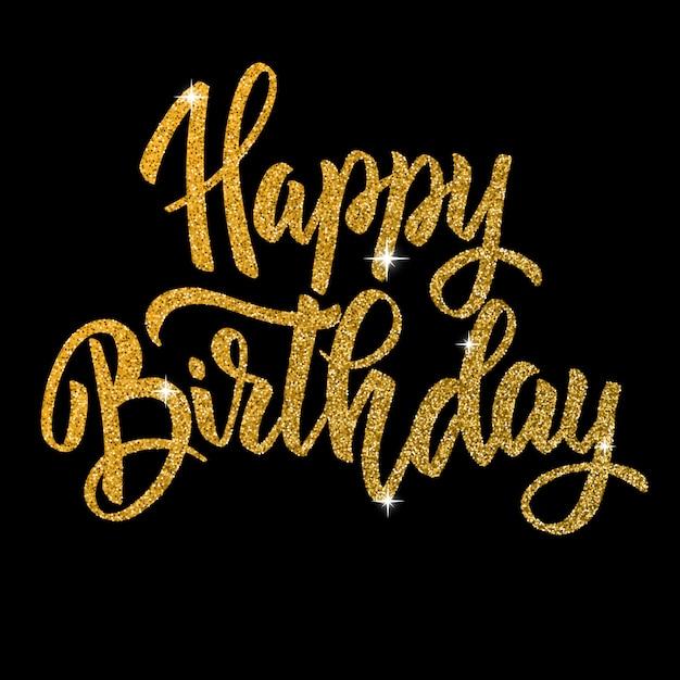 С днем рожденья. ручной обращается букв фразу в золотом стиле на темном фоне. элемент для плаката, открытки. иллюстрация Premium векторы