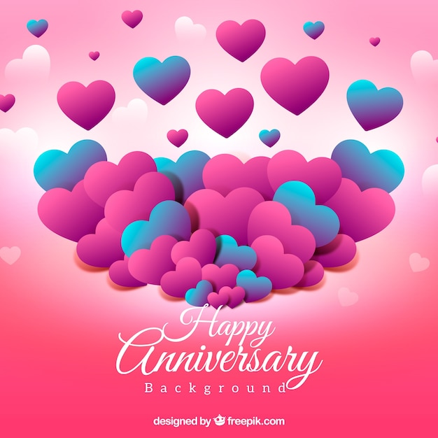 Happy Birthday Hearts Background Vector Free Download