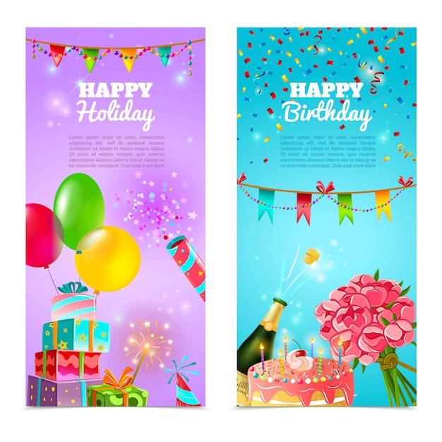 Happy birthday holiday celebrration banners set Free Vector