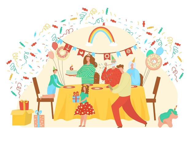お誕生日おめでとうイラスト。家族や友人のキャラクターが家のインテリアで誕生日にギフトやホリデーケーキでかわいい女の子に挨拶します。白のパーティーのお祝いの人々 Premiumベクター