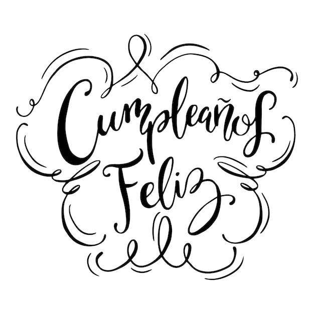 スペイン語の黒と白のレタリングのお誕生日おめでとう 無料ベクター
