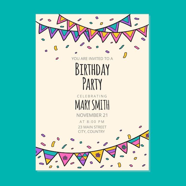 Premium Vector Happy Birthday Invitation Card Design