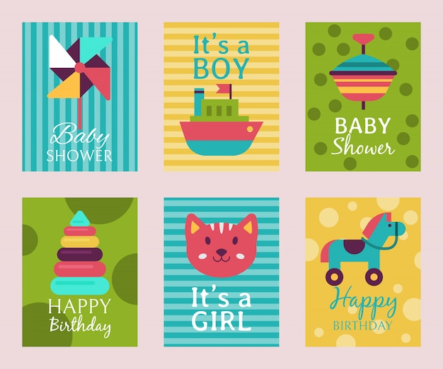 Happy birthday invitation card t-shirt print baby shower. Premium Vector