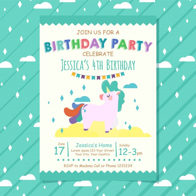 Happy Birthday Invitation Card Premium Vector