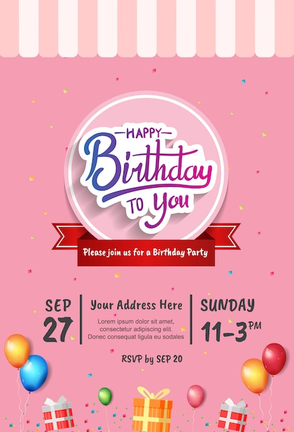Happy Birthday Invitation Card Vector Premium Download