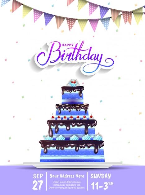 С днем рождения приглашение дизайн с большой синий торт для торжества Premium векторы
