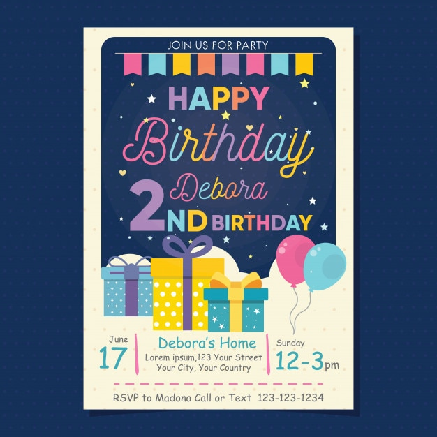 Happy birthday invitation flyer vector premium download happy birthday invitation flyer premium vector filmwisefo