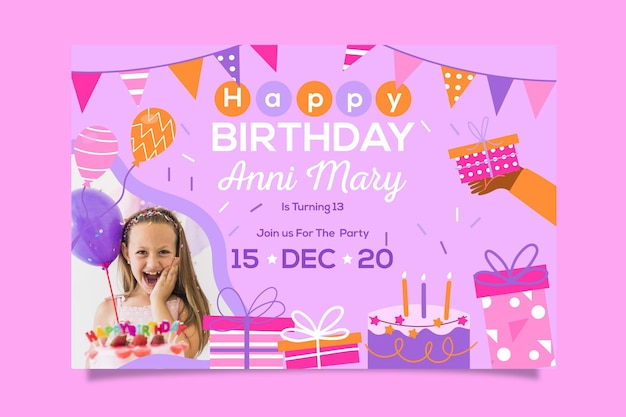 Happy birthday invitation template design Premium Vector