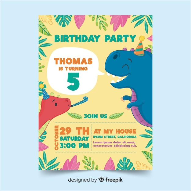 Happy birthday invitation template in hand drawn style Free Vector