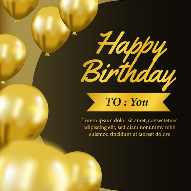 Happy Birthday Invitation Template With Gold Balloon Vector