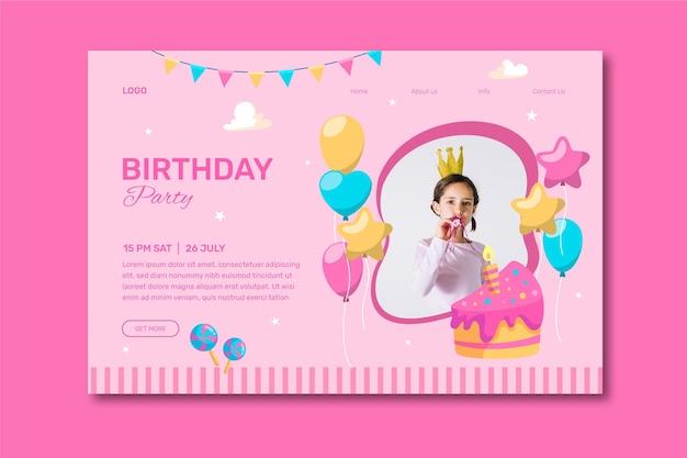 Happy birthday invitation with girl photo Free Vector