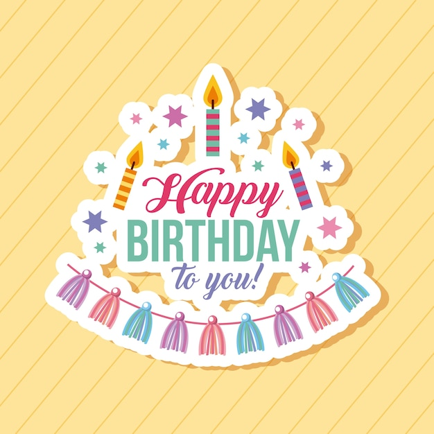 Happy Birthday Kawaii Background Vector Premium Download