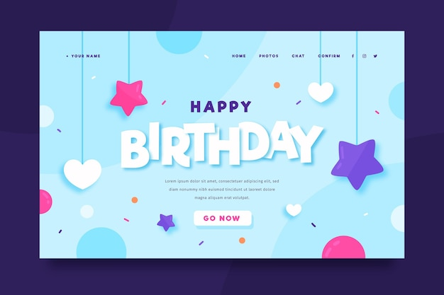 Happy birthday landing page template Free Vector