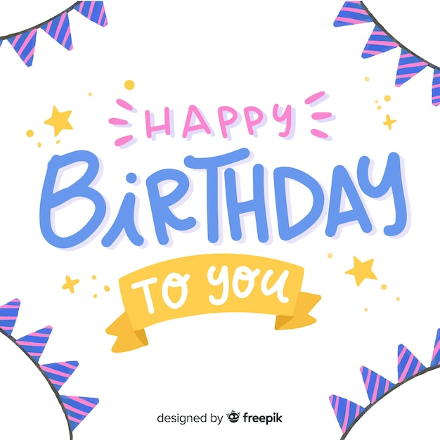 Happy birthday lettering background design Free Vector