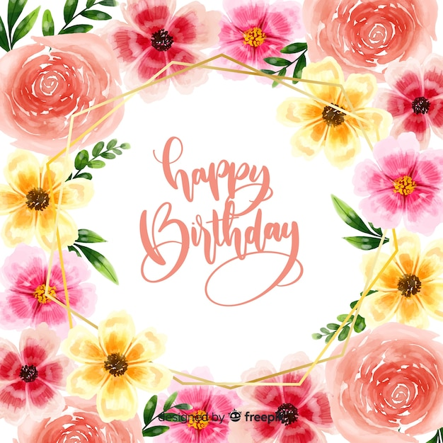 Happy birthday lettering background with flowers Free Vector