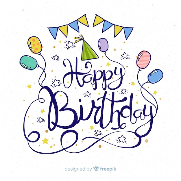Happy birthday lettering background Free Vector