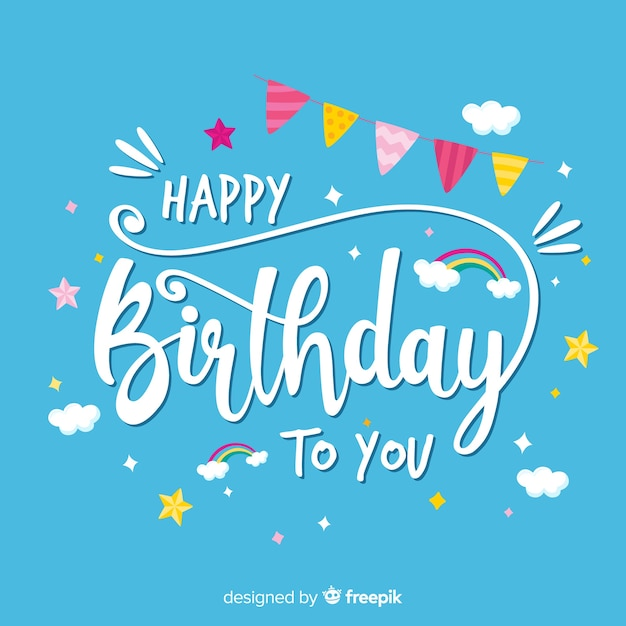 Happy birthday lettering on blue background Free Vector