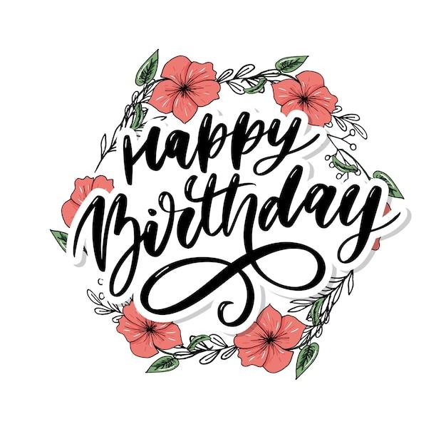 Happy Birthday Lettering Calligraphy Brush Gradient