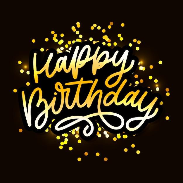 Happy birthday lettering calligraphy brush  typography text illustration Premium Vector