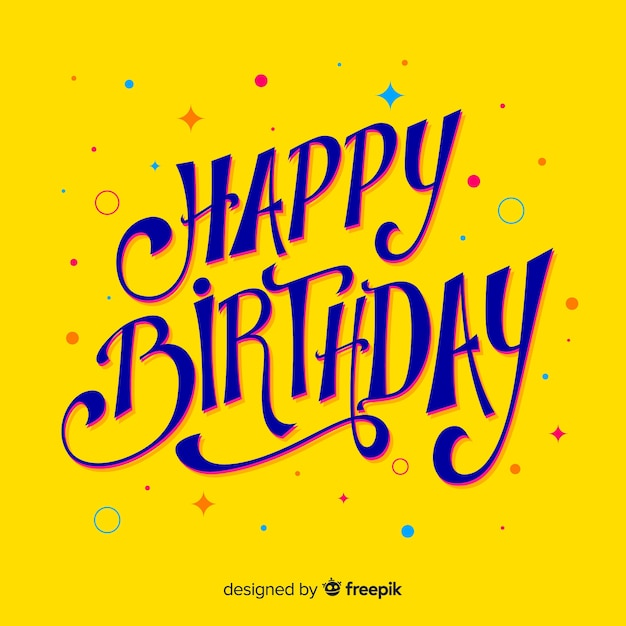 Happy birthday lettering celebration Free Vector