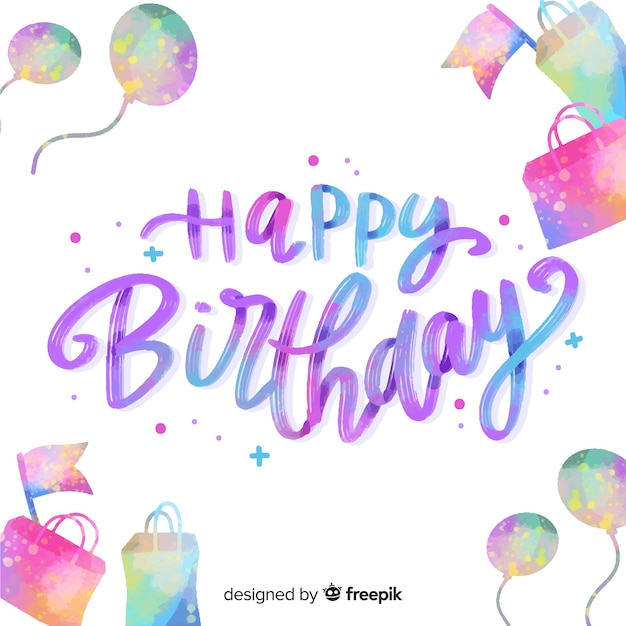 Happy birthday lettering collection Free Vector