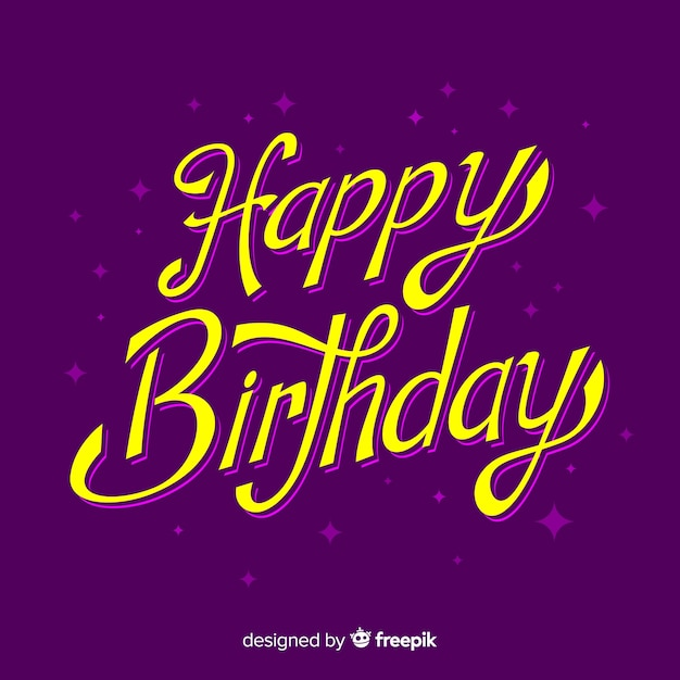 Happy birthday lettering colorful Free Vector